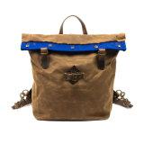 Хорошего качества с возможностью горячей замены продажи Custom водонепроницаемым брезентом открытый рюкзак с декоративной накладки из натуральной кожи
