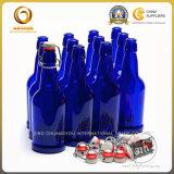 自家製のもの500mlのガラス青いビール瓶(722)