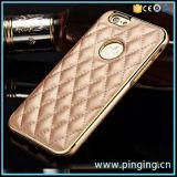 Funda de cuero de lujo para el iPhone 6/6s con paragolpes metálicos