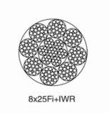 철강선 밧줄 8*25fi+Iwr 선형 접촉 철사 밧줄
