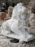 De Gesneden Marmeren Leeuwen van de slaap Hand