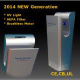 Secador da mão do jato do gêmeo do banheiro dos CB do CE, filtro infravermelho do secador HEPA da mão do sensor, luz UV