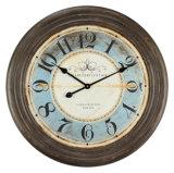 Le lieutenant bleu antique vintage ronds décoration murale horloge en bois