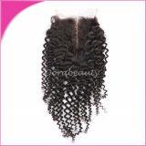 Profundo de la pieza central de Brasil Rizo de cabello virgen de la parte superior de cierre de encaje