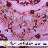 Tessuto in rilievo del ricamo del vestito da cerimonia nuziale del merletto della garza di modo 3D