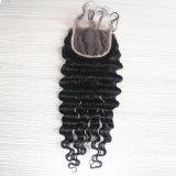 深い波のフリースタイルの赤ん坊の毛を搭載するブラジルのRemyの毛の閉鎖