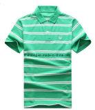 Manicotto di Short della camicia di polo del cotone della striscia del Mens