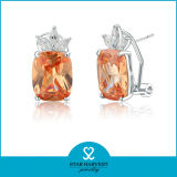 La moda de lujo de cristal de plata Joyería de pendientes (J-0121-E)