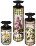 S/3 Vintage Design clássico mobiliário em madeira MDF/Metal Ronda do Cilindro do adesivo de papel suporte para velas