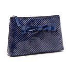 PU with Dots Prints Women's Makeup Bags with Bow