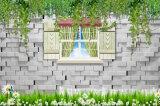 壁の装飾のための景色の油絵3Dの外の煉瓦デザインWindows