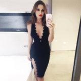 Sleeveless Abend-Kleid mit V-Stutzen Muffen-Abend-Kleid
