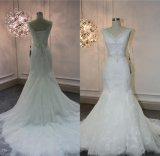 Heiße Verkaufs-Spitze, die Nixe-Brautkleid-Hochzeits-Kleid F5069 bördelt