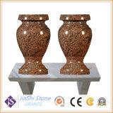 Em granito preto absoluto Tombstone/Monument/Headstone/sua escultura pedra com vaso e estátua