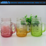 Geprägte Glasflasche und Maurer-Glas für Milchshake und Smoothie
