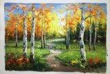 El otoño de Birch pinturas hechas a mano por la espátula para decoración de pared