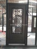 Superqualitätssicherheits-einzelne bearbeitetes Eisen-Eintrag-Tür mit Glas
