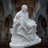 Natürlicher weißer Marmor der Pieta-Statue-Skulptur-frommen Skulptur
