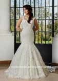 Schutzkappe Sleeves Spitze-Brautkleid-nach Maß volles Spitze-Nixe-Hochzeits-Kleid G17286