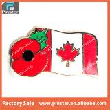 バルク安い記念品のケシの花のカナダのフラグの折りえりPinのバッジ