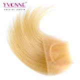Chiusura bionda dei capelli umani della chiusura brasiliana del merletto
