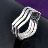 Diseño simple Rodio tres círculos de los anillos de dedo sin Crystal