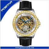 Relógio automático de Tourbillion da faixa redonda do couro genuíno do seletor para o homem