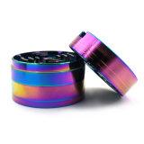 75mm 4 camadas de liga de zinco Rainbow Moedor de ervas com papel de embalagem