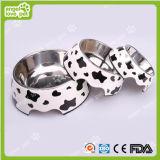 Klassisches Kuh-Muster Melamine&Stainless Stahlhaustier-Hundeschüssel