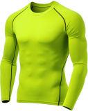Mens-Baumwollschnelles trockenes Trainings-lange Hülse Sports T-Shirt
