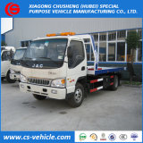 Dongfeng 4X2 8ton 평상형 트레일러 트럭에 의하여 거치되는 기중기 견인 트럭