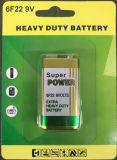 9V 6F22 alto desempenho da bateria de Cloreto de Zinco de carbono