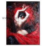 Pinturas a óleo artesanais dançarina de Flamenco em vermelho a reprodução de Fabian Perez