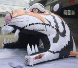 Рекламировать тоннель шаржа раздувной головки тигра