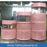 800ml vaso di vetro con un coperchio variopinto del metallo, vasi di vetro