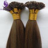 #8ブラウンカラーブラジルの人間のRemyの平らな先端の毛の拡張