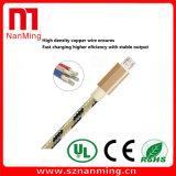 Cable de carga del USB del micr3ofono trenzado colorido del nilón para el androide