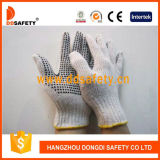 Ddsafety 2017 Bleach Knit Cotton / Polyester String PVC Dots Working Luvas