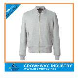 Gray in bianco Color Cotton Zipper Sweatshirt nessun Hood per Young Men
