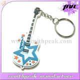 リングが付いている星のギターPVC Keychainをカスタム設計しなさい