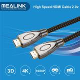 Nylon Braided кабель 2.0 24k покрынный золотом HDMI 1.4