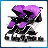 新しいデザイン双生児のためのセリウムの証明書が付いている贅沢なフォールドの赤ん坊の双生児のベビーカー
