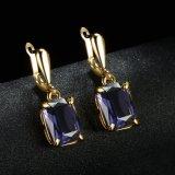 Серьга ювелирных изделий способа покрынная золотом большая каменная для женщин