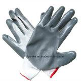 Gris mayorista completamente recubierto de nitrilo guante de trabajo de seguridad EN388