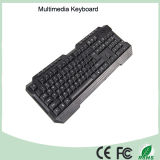 Diseño ergonómico teclado USB multimedia de Office impermeable (KB-1688M-B).