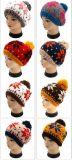 Jacquardwebstuhl stricken Hut mit POM POM, gestrickter Beanie mit der Hand