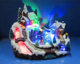 La resina de decoración de Navidad 11''escena de la aldea de led con el desplazamiento de patinaje y Río de fibra óptica, con canciones