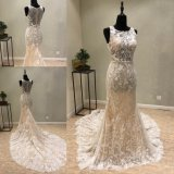 Vestido nupcial do vestido de casamento da noite da sereia do laço de China