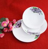 Jogo Hand-Painted branco redondo da louça da flor