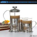 Haute qualité en français Boroilicate Appuyez sur le flacon en verre de pot de café